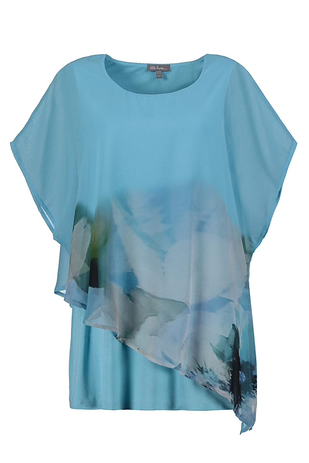 Ulla Popken Womens Plus Size Abstract Watercolor Layer Blouse 722310