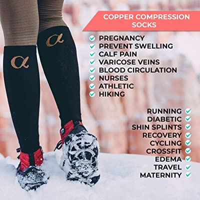 - Best for Running Athletic Cycling 8 Pairs 15-20 mmHg QUXIANG Copper Compression Socks for Women /& Men Circulation