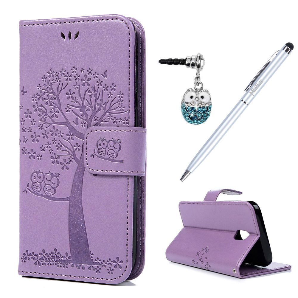 Case for Samsung J3 2017 MAXFE.CO Owl & Tree Embossed Shockproof PU Leather Magnetic Wallet Flip Cover for Samsung Galaxy J3 2017 with Card Slots & Touch Pen & Owl Dust Plug, Light Purple