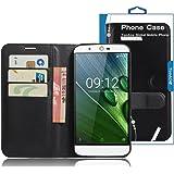 TopAce® Acer Liquid Zest Plus Hülle, Handy PU Leder Brieftasche Case Hülle mit Kartenfächer für Acer Liquid Zest Plus (Schwarz)