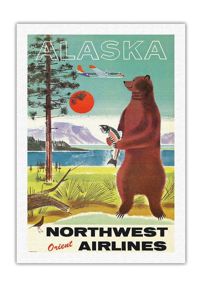 "Cool retro Travel Poster Art CANVAS PRINT 8x12/"" Alaska bear"