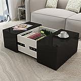 Anself 105 x 60 x 30cm Table Basse de Salon avec Espace de Stockage