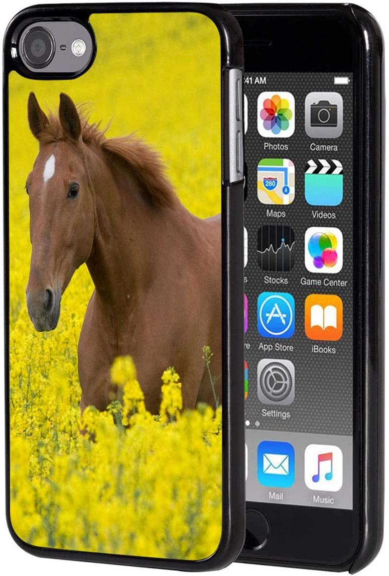 iPod Touch 6 Case,Vobber Shockproof Architecture Hard Plastic Protective Case Cover for Apple iPod Touch 6th Generation,Horse on The Cole Flowers