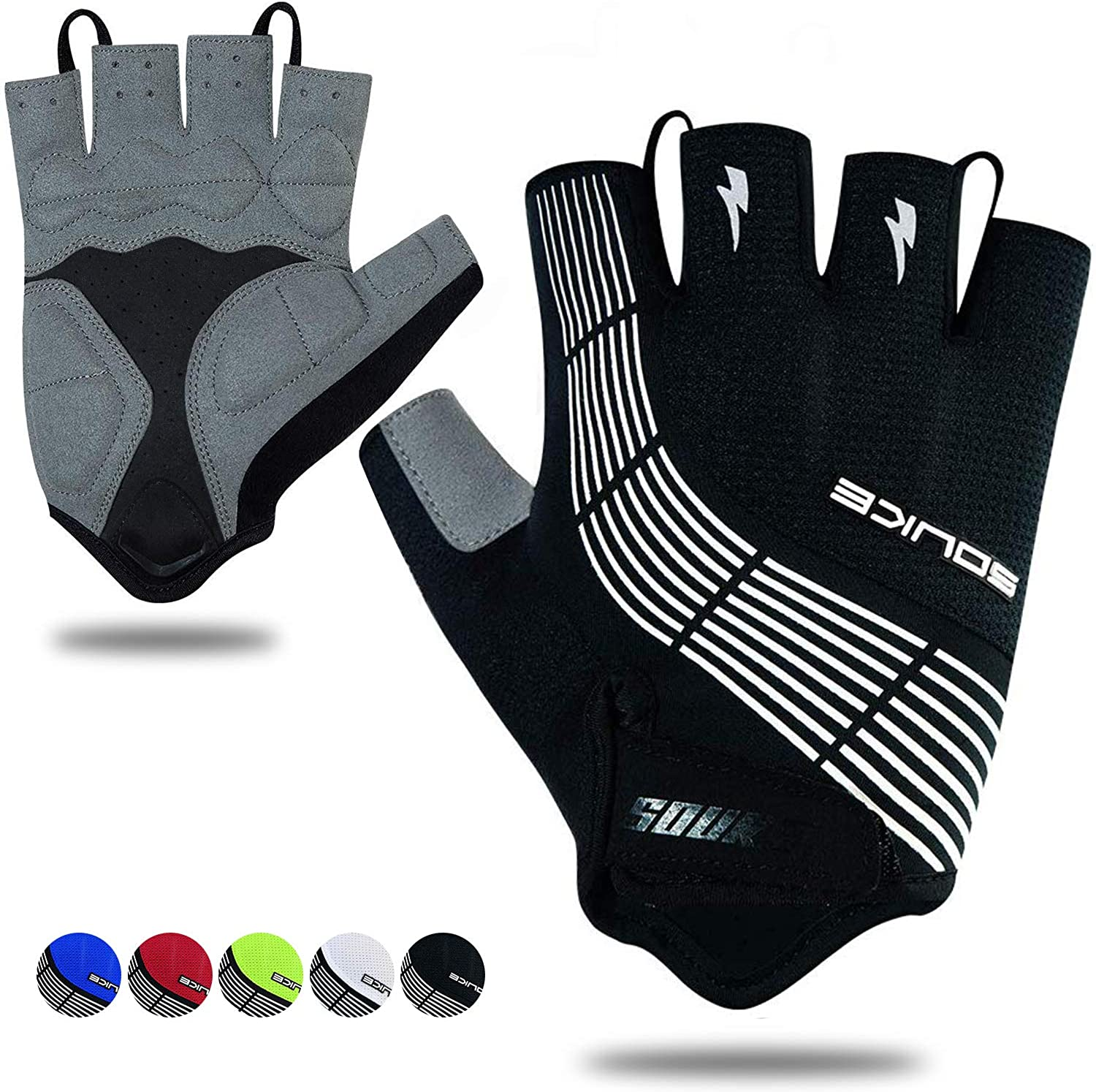 Souke Sports Cycling Bike Gloves Padded Half Finger Bicycle Gloves Shock-Absorbing Anti-Slip Breathable MTB Road Biking Gloves for Men/Women