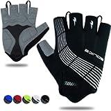 Souke Sports Cycling Bike Gloves Padded Half Finger Bicycle Gloves Shock-Absorbing Anti-Slip Breathable MTB Road Biking…