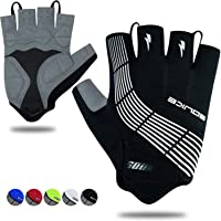 Souke Sports Cycling Bike Gloves Padded Half Finger Bicycle Gloves Shock-Absorbing Anti-Slip Breathable MTB Road Biking…