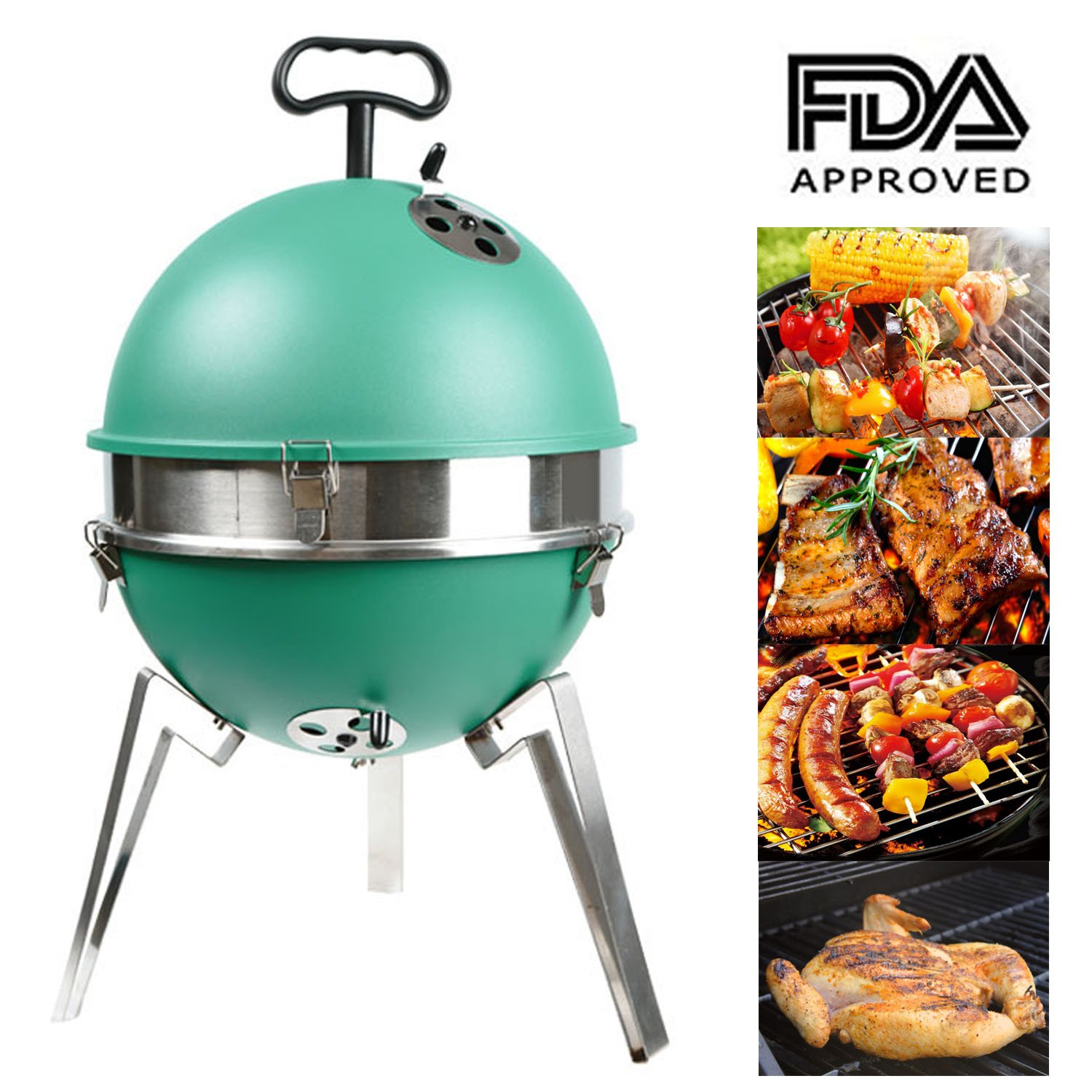 Mangotree Charcoal Grill Portable 12.40in BBQ Removable Barbecue Lightweight Barbecue with Stainless Steel Grate for Patio Garden Lawn Party Beach Camping Backyard Cooking Outdoor Barbecue Tool Green