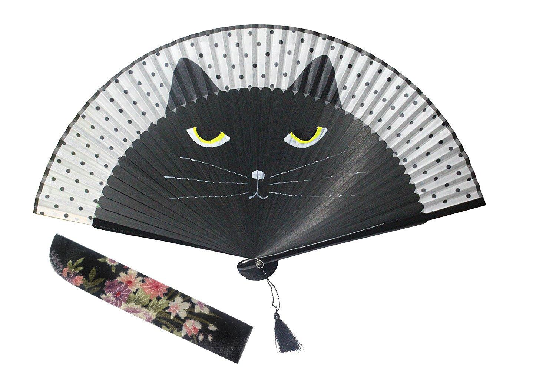 Women Cartoon Cat Folding Silk Fan Jepanese Girls' Handheld Fan (Black) Goege Bailey