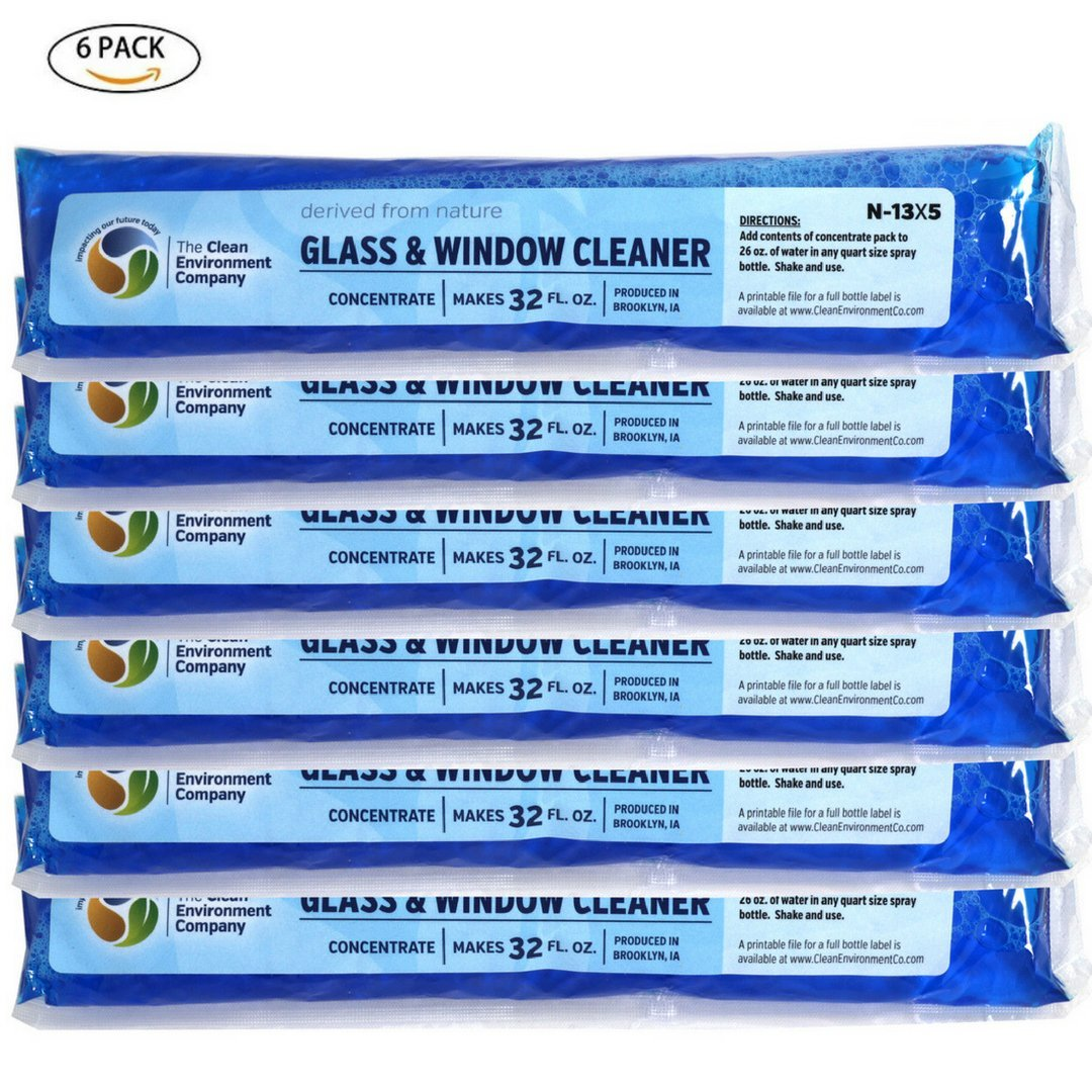 All Natural Glass & Window Cleaner Concentrate 6 pack - Each Makes 32 oz of Cleaner - Remove Fingerprints, Soil, Water Spots - Less Plastic, Non-Toxic, Eco-Friendly - Clean Environment Company