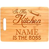 Custom Cooking Gift Enter Name Kitchen Boss Personalized Big Rectangle Bamboo Cutting Board Bamboo