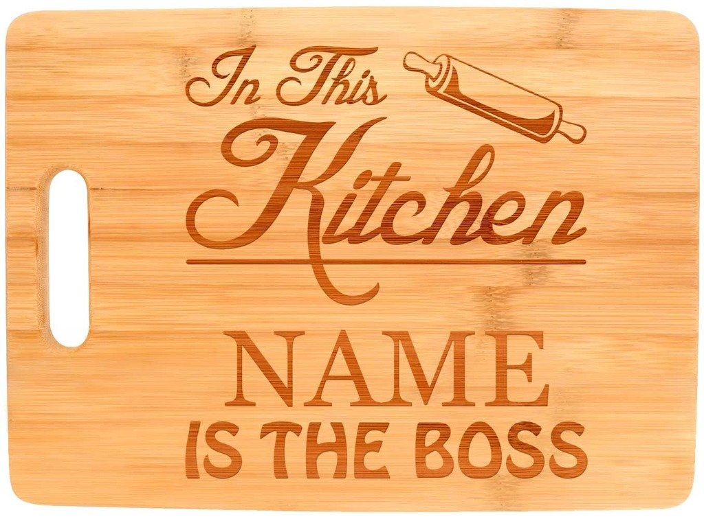 Custom Cooking Gift Enter Name Kitchen Boss Personalized Big Rectangle Bamboo Cutting Board Bamboo by Personalized Gifts (Image #1)