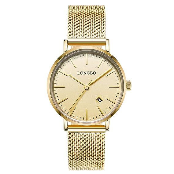 Longbo Reloj para mujer con fecha, carcasa ultra delgada, de cuarzo japonés y