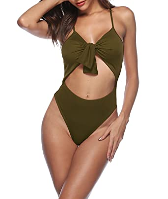 ab9f7a11366e5 JomeDesign Womens One Piece Swimsuits Tie Knot High Waist Bandage Bathing  Suit Army Green S