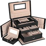SONGMICS Jewelry Box for Women, Jewelry Organizer with 2 Drawers, Lockable Jewelry Case with Mirror, Portable Travel…