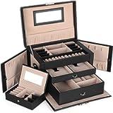 SONGMICS Jewelry Box, Jewelry Organizer with 2 Drawers, Lockable Jewelry Case, Black UJBC121B