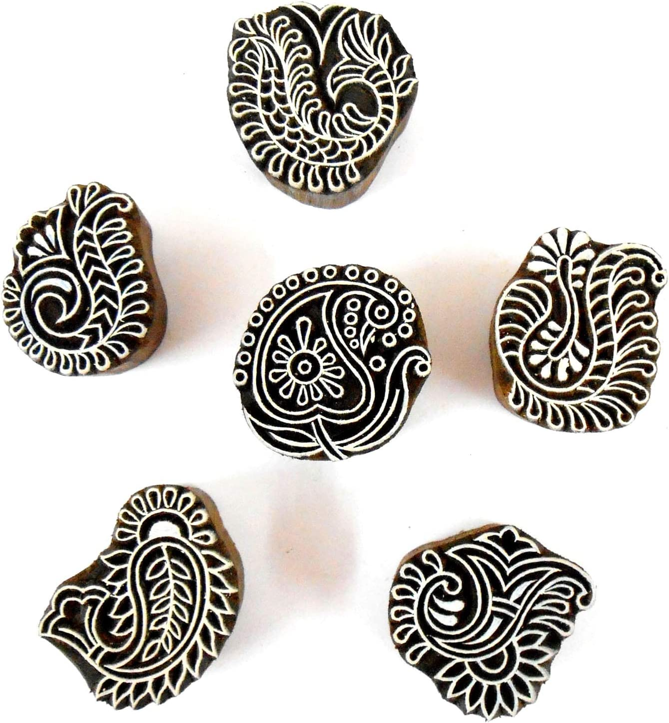 Wholesale Pack of Six Unique Exotic Designs Wooden Block Stamps//Tattoo//Handcarved Indian Textile Printing Blocks