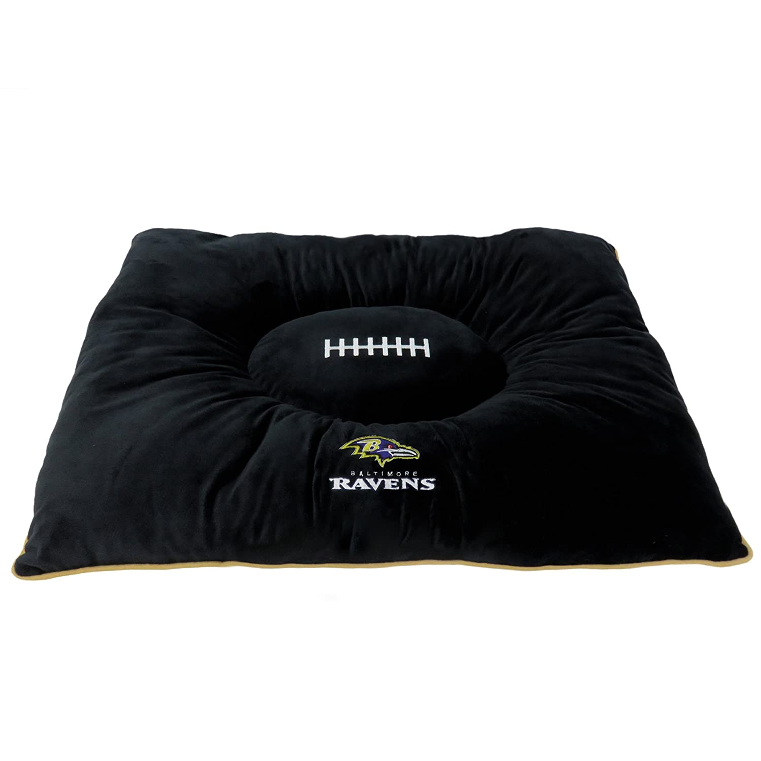 NFL PET Bed Baltimore Ravens Soft & Cozy Plush Pillow Bed. Football Dog Bed. Cuddle, Warm Sports Mattress Bed for Cats & Dogs