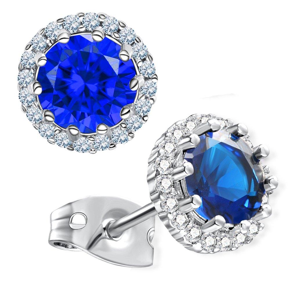 Gagafeel Birthstone Stud Earrings for Women Girl Cubic Zirconia Copper Platinum Hypoallergenic Earrings (9.September)