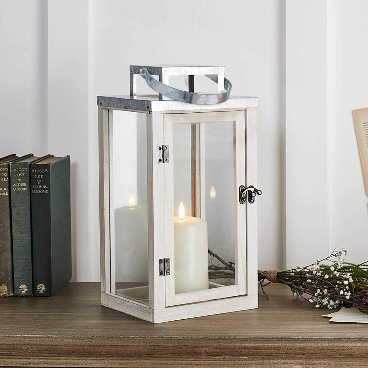 """Lights4fun, Inc. 14"""" Rustic White Wooden Indoor Battery Operated LED Flameless Candle Lantern"""