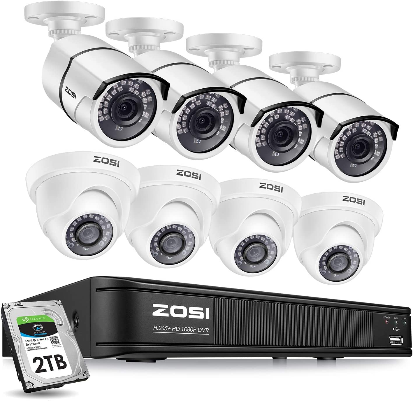 ZOSI 1080p H.265+ Home Security Camera System,8 Channel CCTV DVR Recorder (2TB Hard Drive Built-in) and (8) 2.0MP Surveillance Bullet Dome Camera Outdoor/Indoor ,Remote Access,Motion Detection