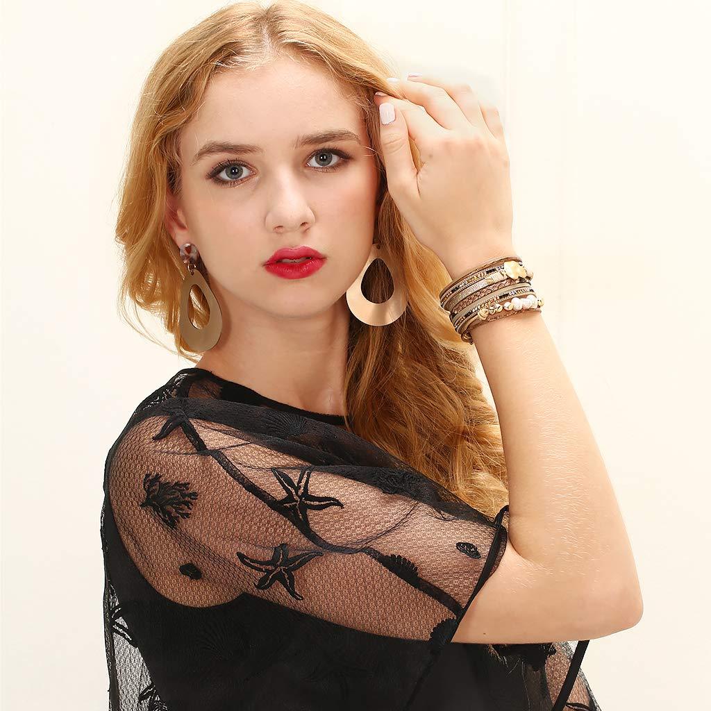 JAOYU Bracelet Cuir Filles Les Femmes Aiment Le Coeur Bracelets Bracelet Manchette Perle Bijoux Cadeaux de No/ël pour Les Enfants
