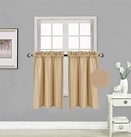 Fancy Collection 2 Panel Blackout Curtains Draperies Thermal Insulated Solid Gold Rod Pocket Top Drapes Each