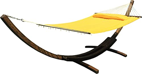 G3ELITE 14 Wooden Arc Hammock Stand with Double Wide Quilted Padded Bed w Matching Pillow, Smooth Wood Water Treated Stain Finish, Strong Durable, Holds 450 lbs 14 , Teak w Yellow Bed