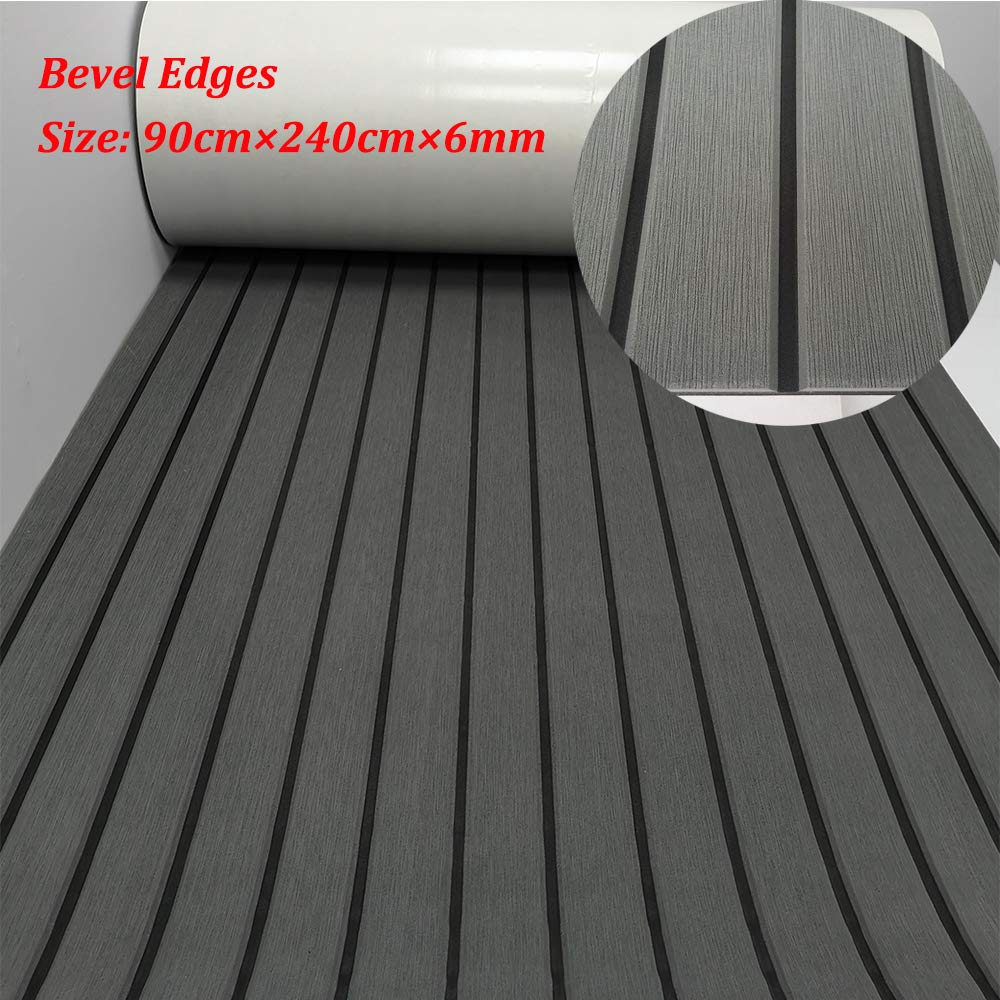 yuanjiasheng EVA Faux Teak Decking Sheet for Boat Yacht Non-Slip and Self-Adhesive Boat Flooring Pad 94.5''× 35.4'' Bevel Edges (Dark Gray with Black Lines)