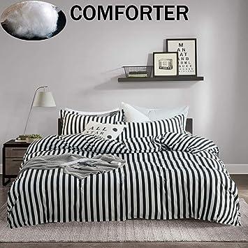 Amazon Com Jumeey Black And White Comforter Set Queen Vertical