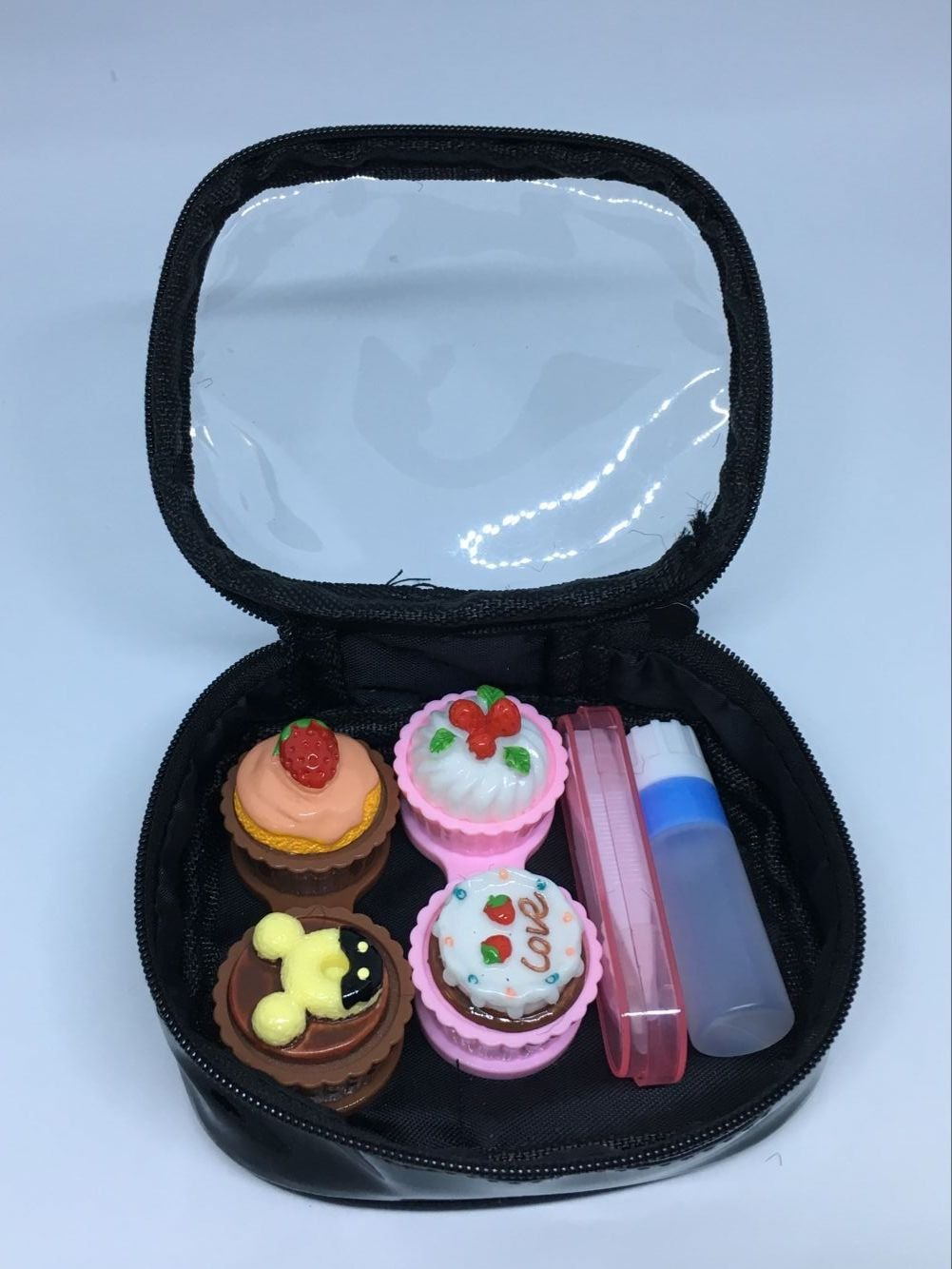 TGBACK Cute Kate Design Contact Lens Case Travel Kit Mirror +bottle + tweezers Container Holder