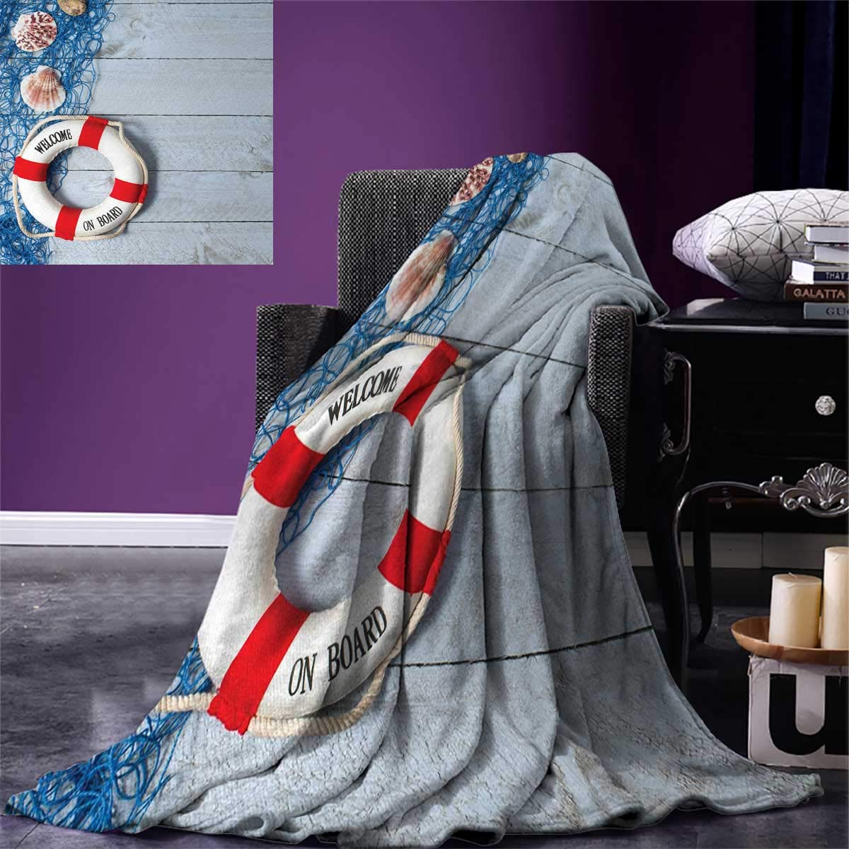 Anniutwo Buoy Throw Blanket Welcome on Board Message on Lifebuoy Fishing Net Seashell Wood Floor Boat Warm Microfiber All Season Blanket Bed Couch 50''x30'' Dust Blue Red