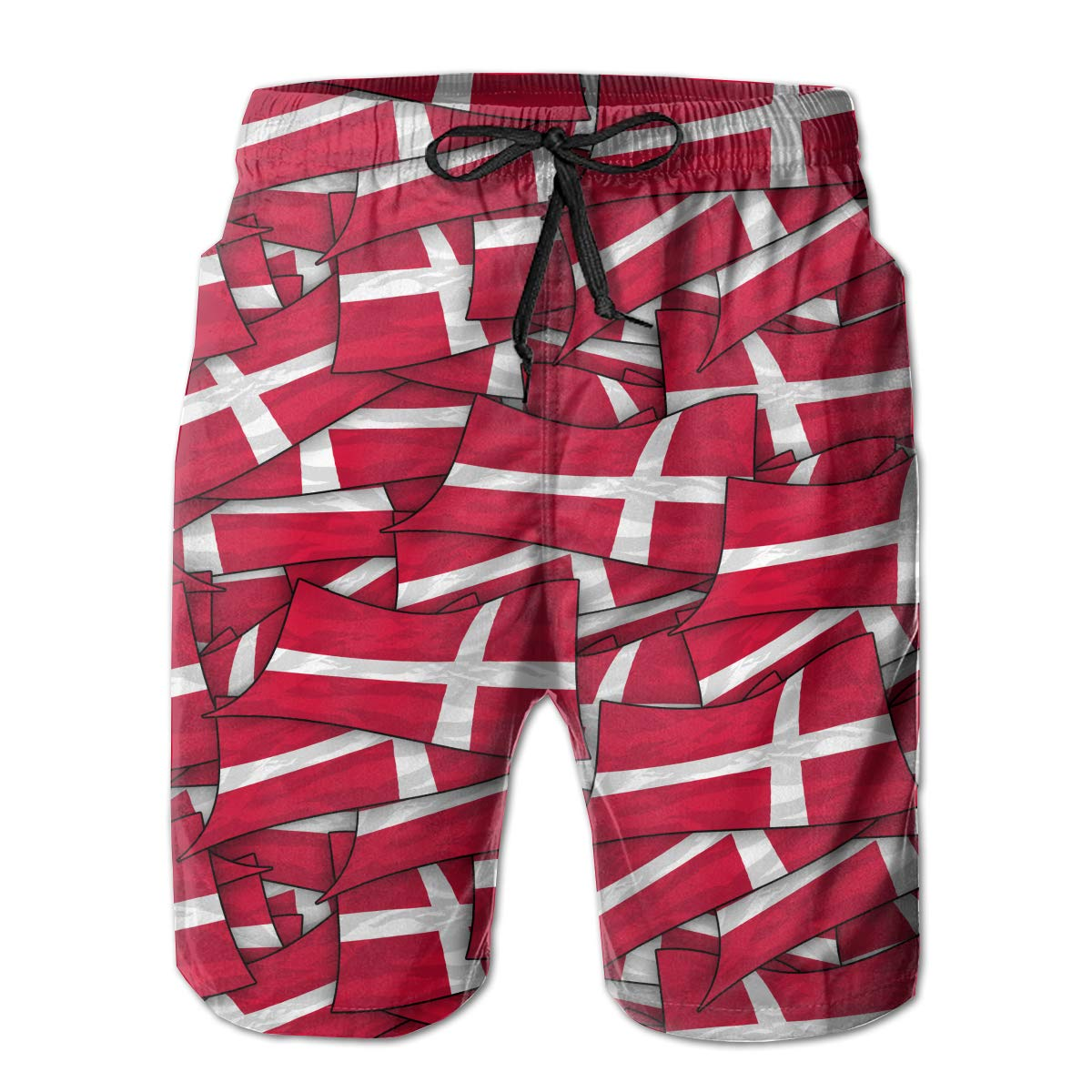 Mens Swim Trunks Denmark Flag Wave Collage Quick Dry Beach Board Shorts with Mesh Lining
