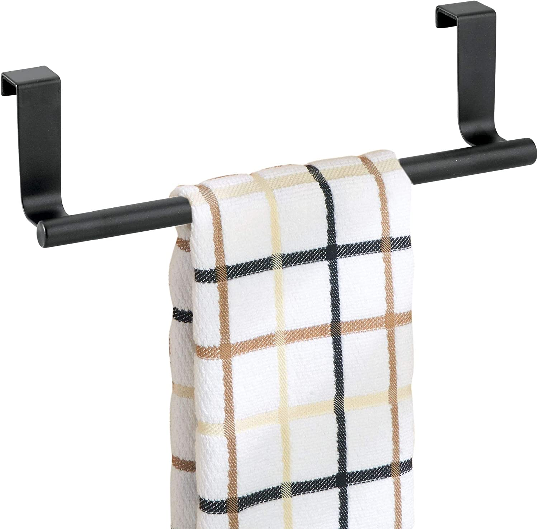 Amazon Com Interdesign Forma Over The Cabinet Kitchen Dish Towel Bar Holder 9 Matte Black Home Kitchen