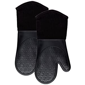 Silicone Oven Mitts with Quilted Cotton Lining - Professional Heat Resistant Kitchen Pot Holders - 1 Pair (Standard Length Black, Oven Mitts)