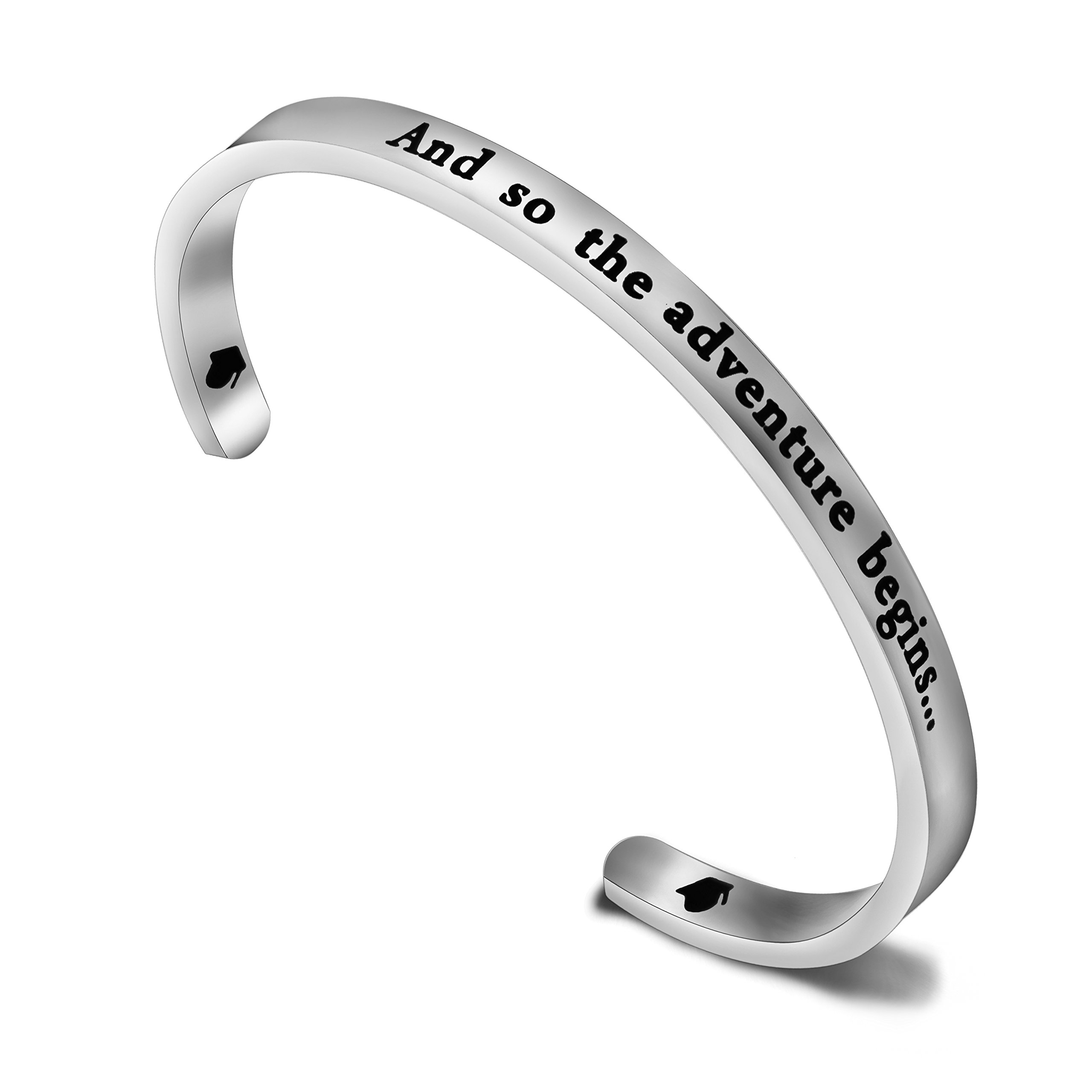 Zuo Bao Graduation Bracelet And So The Adventure Begins Cuff Bracelet Class of 2018 2019 Gift for Graduates (Bracelet)