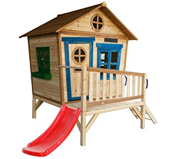 Big Game Hunters Redwood Penthouse Wooden Playhouse With Slide