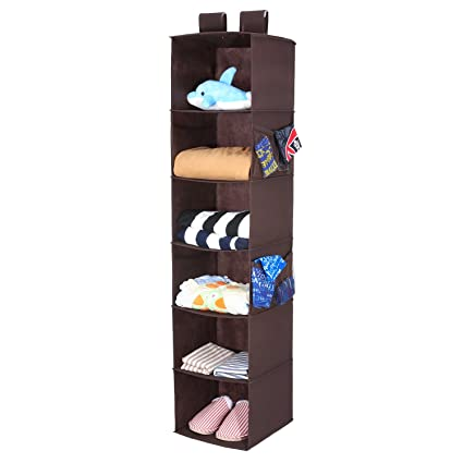 Magicfly Hanging Closet Organizer With 4 Side Pockets, 6 Shelf Collapsible  Closet Hanging Shelf