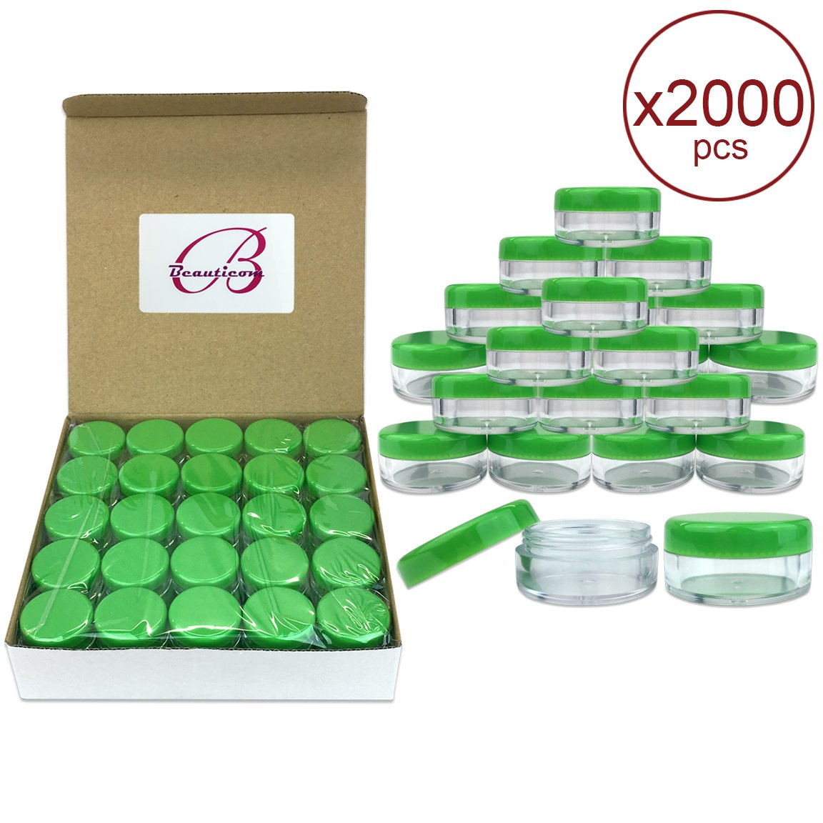 (Quantity: 2000 Pieces) Beauticom 5G/5ML Round Clear Jars with GREEN Lids for Scrubs, Oils, Toner, Salves, Creams, Lotions, Makeup Samples, Lip Balms - BPA Free