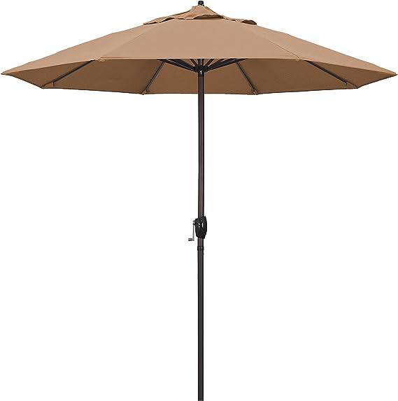 California Umbrella Ata908117 F72 Casa Series Market Crank Lift Auto Tilt Bronze Pole Patio Umbrella 9 Round Straw Garden Outdoor Amazon Com