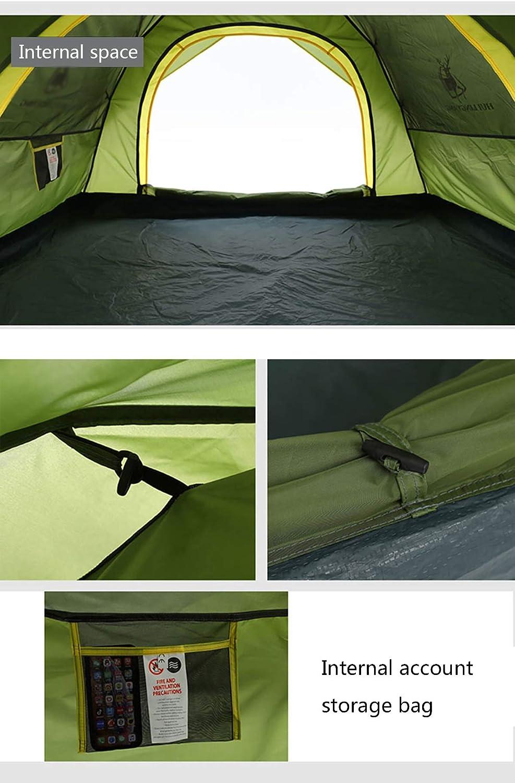 JX-ZHANGPENG Tienda de campaña Totalmente automática Domo a Prueba de Lluvia Camping Doble Doble Capa Libre construyó Carpa 3-4 Al Aire Libre de la Puerta Doble,Verde Green