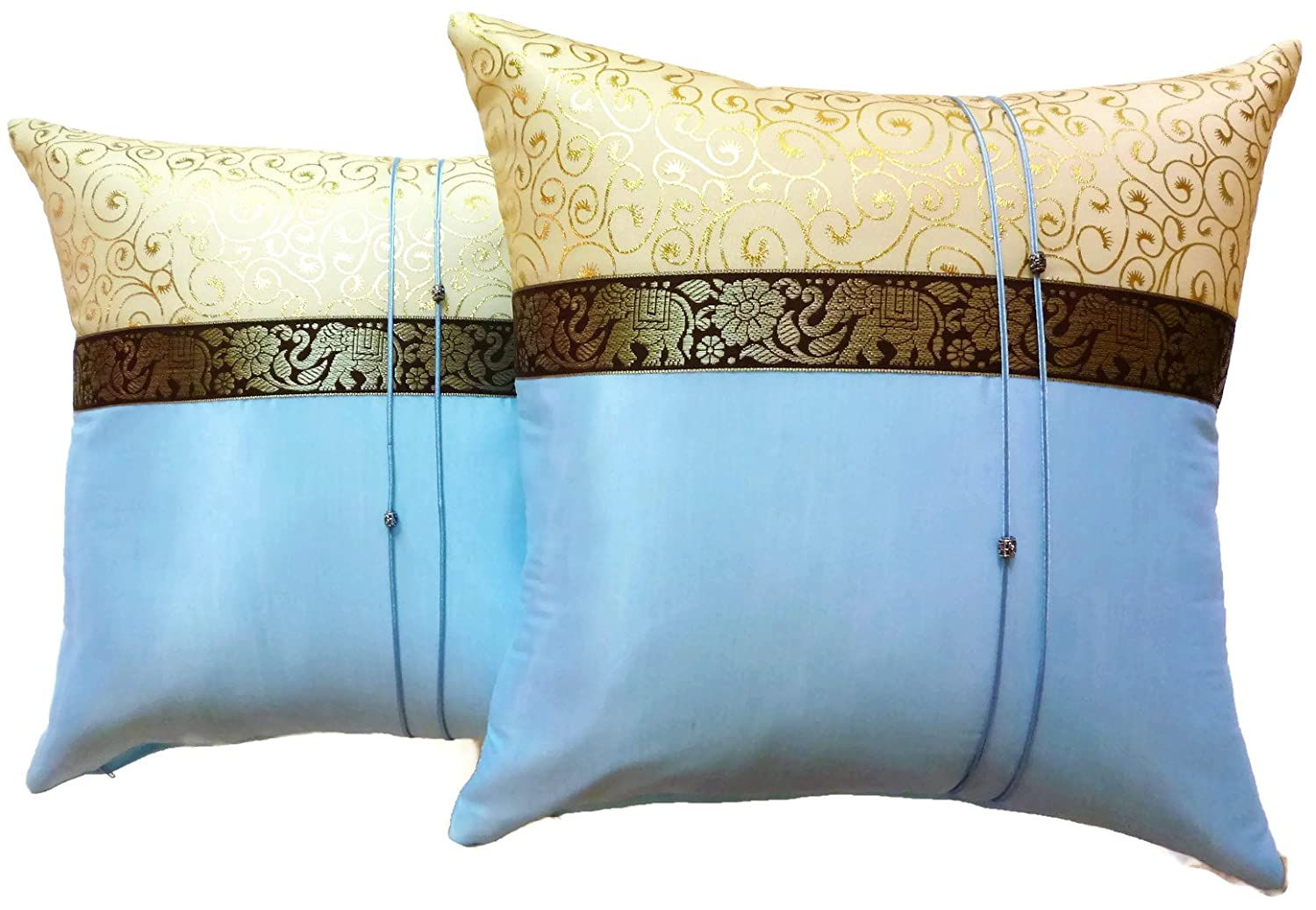 Set of Two Light Blue Silk Throw Cushion Pillow Cover Case With Elephant Middle Stripe for Decorative Living Room Sofa Car Size 16 x16 Inches COMIN16JU038913