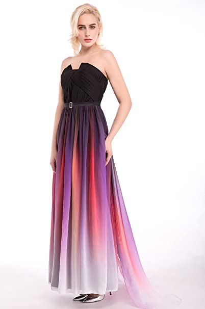 Amazon.com: Womens Ombre Formal Evening Gowns Floor Length Chiffon Prom Dresses: Clothing