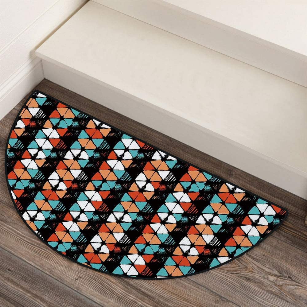 36 x 72 Half Round Door Mat,Vector Contemporary Geometrical Hexagonal Detailed Image Outdoor//Indoor Entry Rug,for Home Kitchen Office Standing Desk Mats,White Salmon Turquoise Black