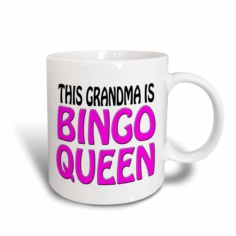 3dRose mug_149770_2 This Grandma is Bingo Queen Hot Pink Ceramic Mug, 15-Ounce