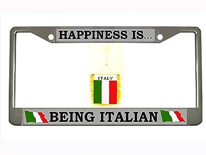 Amazon.com: Happiness is being Italian Chrome Metal Auto License ...