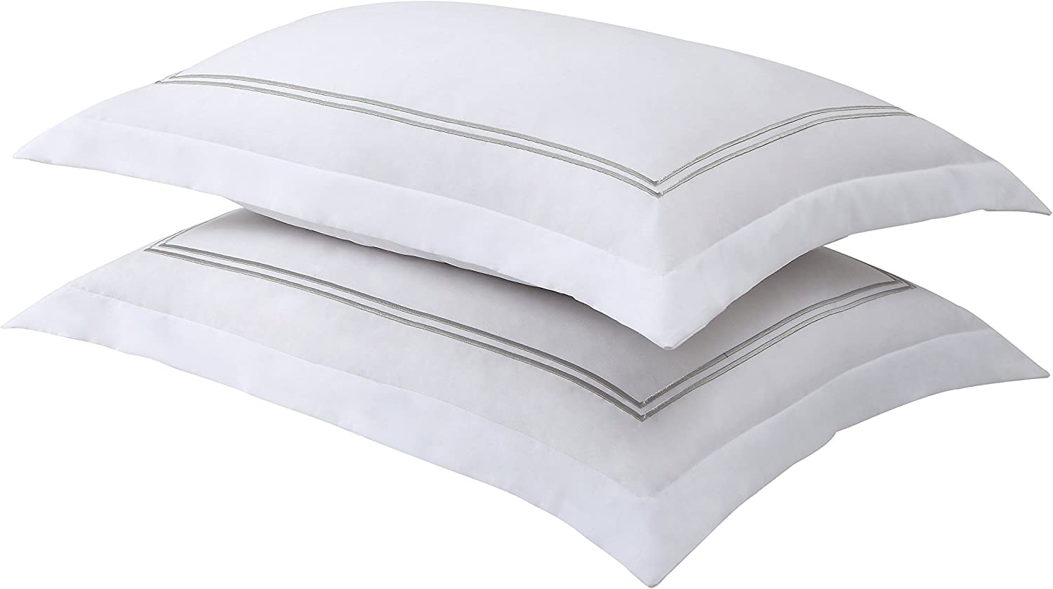 Bed Maker's Levinsohn Luxury Hotel Tailored Pillow Sham Pair, White with Silver Baratta Stitched Hem (2 Pack) Standard