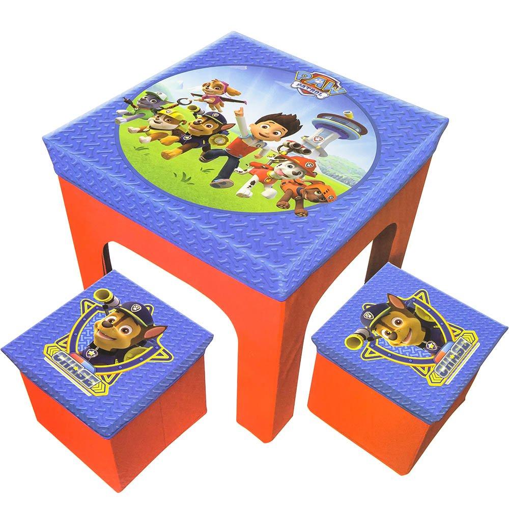 Paw Patrol Set Tavolo e Due Puff Sgabello Pieghevole Gioco bambini PPA402201
