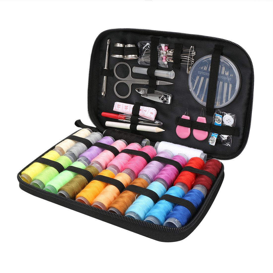 Portable Sewing Kit DIY Premium Sewing Supplies with 93 Sewing Accessories, 22 Multi Colors Spools of Thread, Black Carrying Case HLC