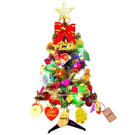 Colorful Christmas Tree Ideas.24 Tabletop Christmas Tree Funpa Miniature Pine Christmas Tree With Hanging Ornaments Xmas Ornament Artificial Xmas Tree With String Light Colorful