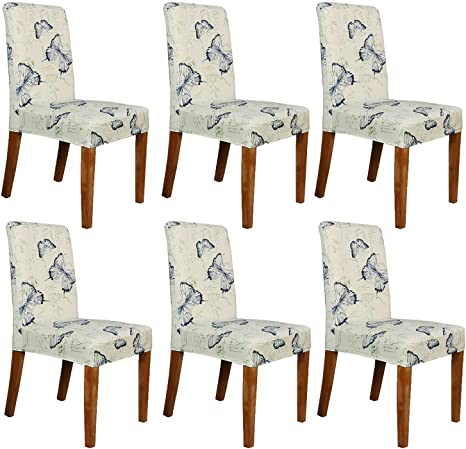 Amazon.com: Stretch Dining Room Chair Covers Parsons Decorative Banquet Party Chair Slipcover Ivory Seat Covers For Living Room, Dining Room, Set Of 6, Blue Butterfly: Kitchen & Dining
